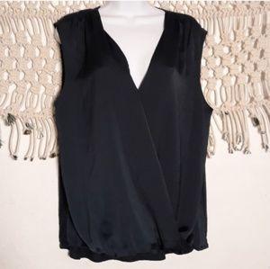 Vince navy wrap sleeveless flowy top